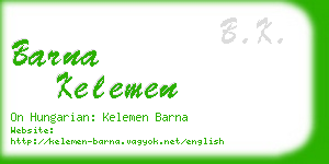 barna kelemen business card